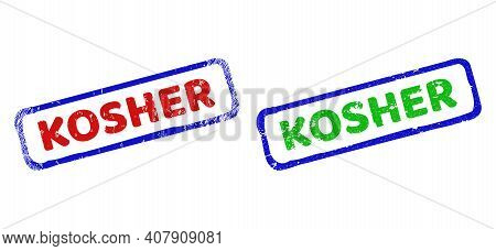 Vector Kosher Framed Imprints With Corroded Surface. Rough Bicolor Rectangle Stamps. Red, Blue, Gree