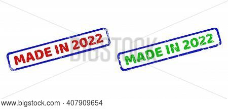 Vector Made In 2022 Framed Watermarks With Grunged Surface. Rough Bicolor Rectangle Watermarks. Red,