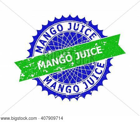 Vector Mango Juice Bicolor Stamp Seal With Rubber Style. Blue And Green Colors. Flat Stamp With Mang
