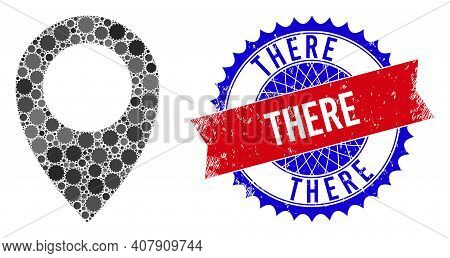 Map Marker Vector Collage Of Sharp Rosettes And There Dirty Stamp Seal. Bicolor There Stamp Seal Use