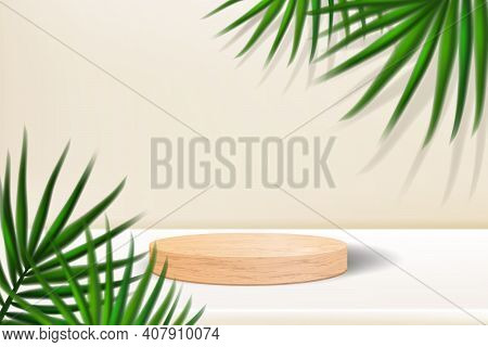 Wooden Podium With Palm Leaves And Shadows. Realistic Wood Platform For Product Presentation. Minima