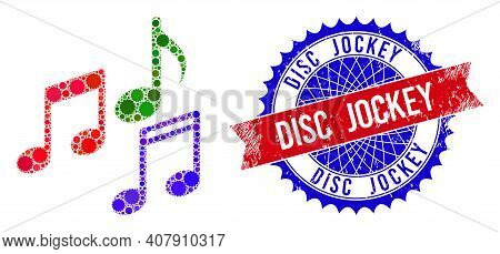 Melody Notes Vector Collage Of Sharp Rosettes And Disc Jockey Corroded Stamp. Bicolor Disc Jockey St