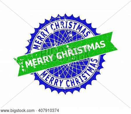 Vector Merry Christmas Bicolor Stamp With Rough Surface. Blue And Green Colors. Flat Stamp With Merr