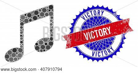 Musical Notes Vector Mosaic Of Sharp Rosettes And Victory Unclean Seal. Bicolor Victory Seal Uses Ro