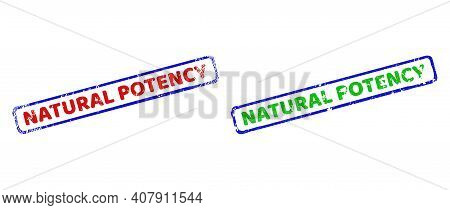 Vector Natural Potency Framed Watermarks With Unclean Style. Rough Bicolor Rectangle Seal Stamps. Re
