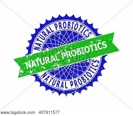 Vector Natural Probiotics Bicolor Seal With Unclean Texture. Blue And Green Colors. Flat Seal Stamp