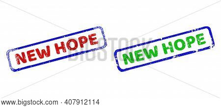 Vector New Hope Framed Rubber Imitations With Grunged Style. Rough Bicolor Rectangle Stamps. Red, Bl