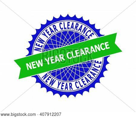 Vector New Year Clearance Bicolor Template For Rubber Imitations With Clean Surface. Flat Clean Seal