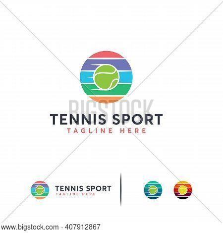 Elegant Tennis Logo Designs Vector, Iconic Tennis Ball Logo Template