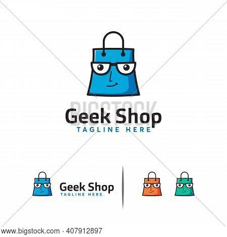 Geek Shop Logo, Shopping Bag Logo Designs Concept Vector
