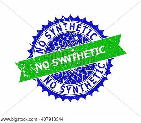 Vector No Synthetic Bicolor Stamp Seal With Unclean Style. Blue And Green Colors. Flat Seal With No