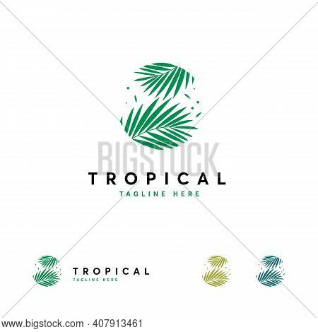 Tropical Logo Designs, Resort And Spa Emblem. Tropical Cosmetics. Beauty. Palm Leaves In A Circle