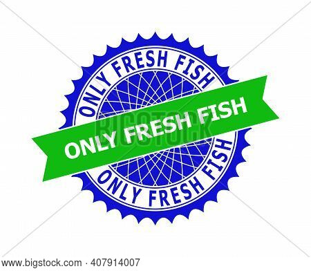 Vector Only Fresh Fish Bicolor Template For Watermarks With Clean Surface. Flat Clean Seal Stamp Wit