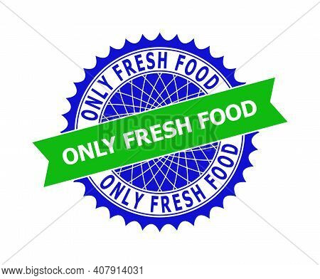 Vector Only Fresh Food Bicolor Template For Imprints With Clean Surface. Flat Clean Seal Template Wi