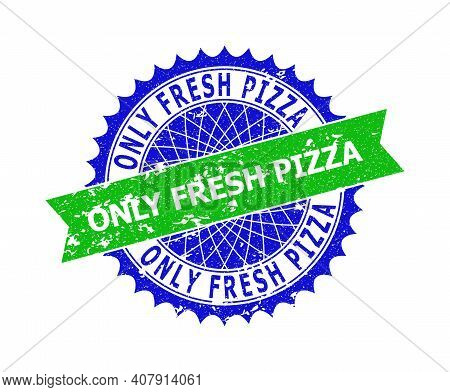 Vector Only Fresh Pizza Bicolor Stamp Seal With Unclean Surface. Blue And Green Colors. Flat Seal Im