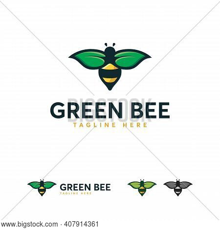 Bee Wasp Logo Designs Concept Vector, Green Bee Logo, Leaf And Bee Logo Template