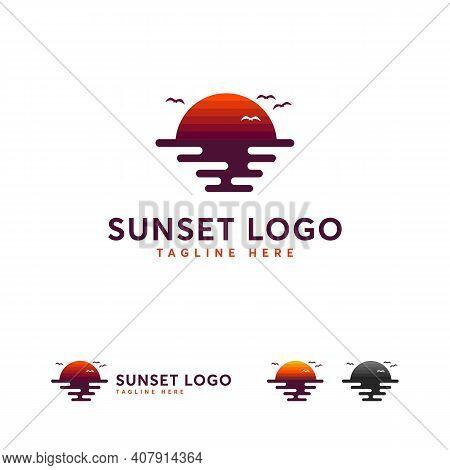 Sunset Logo Designs, Sunset In Ocean Logo, Sunrise Logo Symbol