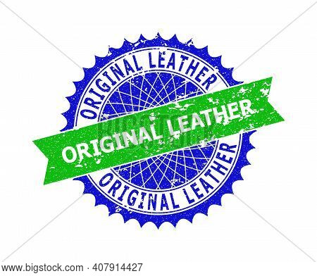 Vector Original Leather Bicolor Stamp Seal With Corroded Style. Blue And Green Colors. Flat Seal Sta