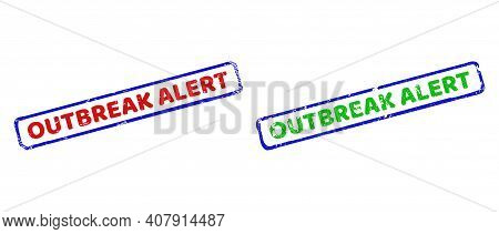 Vector Outbreak Alert Framed Watermarks With Distress Surface. Rough Bicolor Rectangle Stamps. Red,