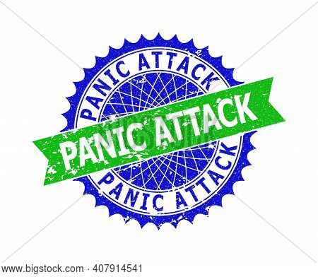 Vector Panic Attack Bicolor Watermark With Grunged Style. Blue And Green Colors. Flat Watermark With