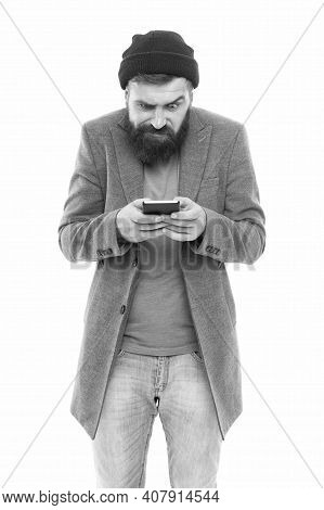 Having Blog While On The Go. Bearded Man Writing New Blog Post From Smartphone. Blogger Keeping Priv