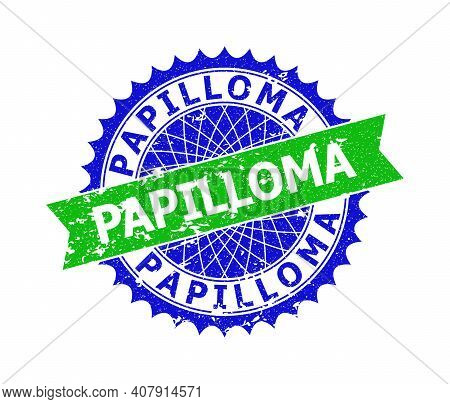 Vector Papilloma Bicolor Stamp Seal With Corroded Style. Blue And Green Colors. Flat Seal Stamp With
