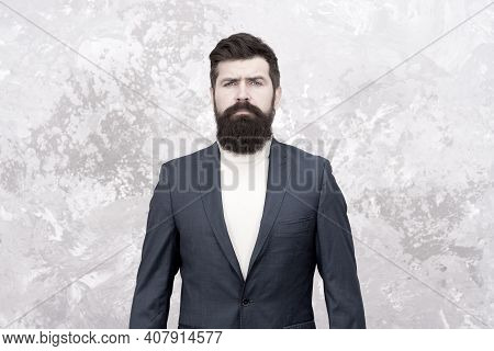 Confident And Successful. Man Handsome Bearded Businessman Wear Luxury Formal Suit. Menswear And Fas