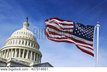 American Flag Waving With The Us Capitol Hill In The Background