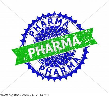 Vector Pharma Bicolor Stamp Seal With Scratched Surface. Blue And Green Colors. Flat Seal Stamp With