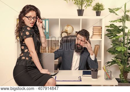 Experienced And Skilled. Professional Couple In Office. Professional Employees Hold Working Meeting.
