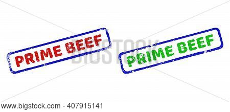 Vector Prime Beef Framed Imprints With Grunge Style. Rough Bicolor Rectangle Stamps. Red, Blue, Gree