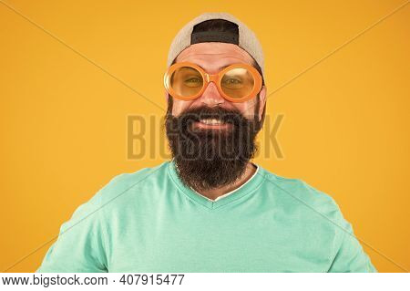 Feeling Fully Excited. Funny Man Having Fun. Bearded Guy In Party Glasses. Just Like Freak. He Is Go
