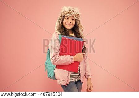 Stylish Schoolgirl. Girl Little Fashionable Schoolgirl Carry Backpack. Schoolgirl Daily Life. Modern