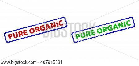 Vector Pure Organic Framed Imprints With Grunge Surface. Rough Bicolor Rectangle Seal Stamps. Red, B