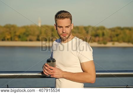 Summer Rest. Relaxing Alone With His Thoughts. Summer Morning. Place Of Power. Man Hipster Relaxing