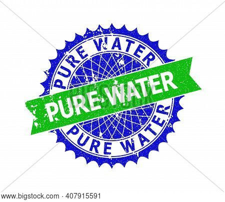 Vector Pure Water Bicolor Stamp Seal With Scratched Style. Blue And Green Colors. Flat Seal Stamp Wi