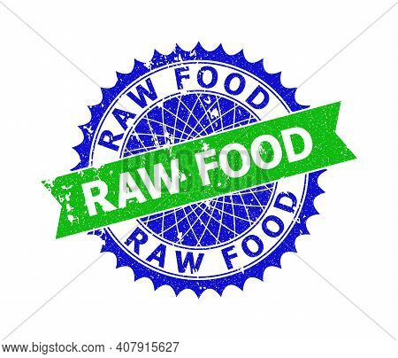 Vector Raw Food Bicolor Stamp Seal With Unclean Texture. Blue And Green Colors. Flat Seal Stamp With