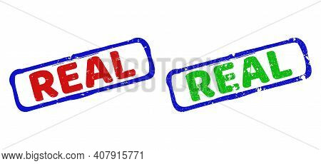 Vector Real Framed Rubber Imitations With Scratched Texture. Rough Bicolor Rectangle Watermarks. Red