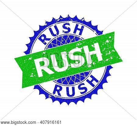 Vector Rush Bicolor Seal With Rough Texture. Blue And Green Colors. Flat Seal Stamp With Rush Text I