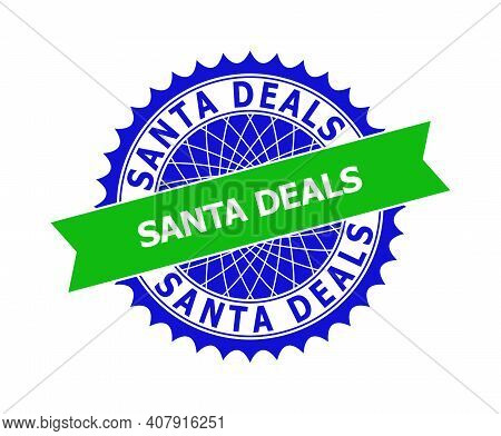 Vector Santa Deals Bicolor Template For Watermarks With Clean Surface. Flat Clean Seal Template With