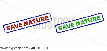 Vector Save Nature Framed Watermarks With Unclean Texture. Rough Bicolor Rectangle Watermarks. Red,