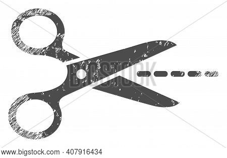 Scissors Line Icon With Scratched Style. Isolated Vector Scissors Line Icon Image With Scratched Rub