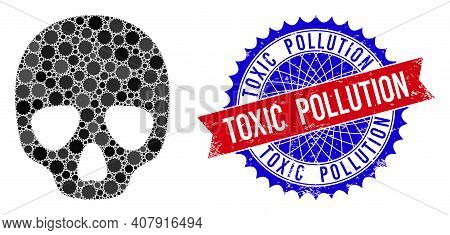 Skull Vector Collage Of Sharp Rosettes And Toxic Pollution Corroded Stamp Seal. Bicolor Toxic Pollut
