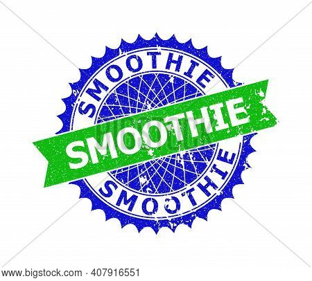 Vector Smoothie Bicolor Stamp Seal With Rough Texture. Blue And Green Colors. Flat Seal Stamp With S