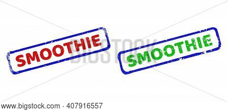 Vector Smoothie Framed Watermarks With Corroded Texture. Rough Bicolor Rectangle Watermarks. Red, Bl