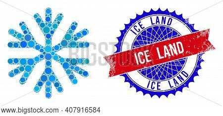 Snow Flake Vector Mosaic Of Sharp Rosettes And Ice Land Scratched Stamp Print. Bicolor Ice Land Stam