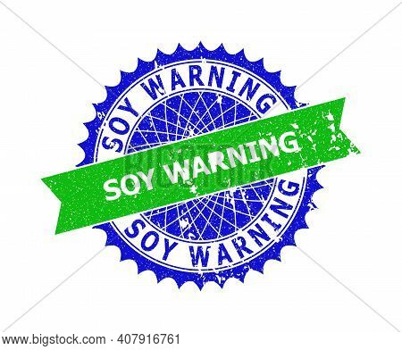 Vector Soy Warning Bicolor Stamp Seal With Grunged Style. Blue And Green Colors. Flat Seal Stamp Wit