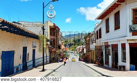 Chordeleg, Ecuador - October 10, 2018: Little Town In Azuay Province Of Ecuador Is Wildly Known For