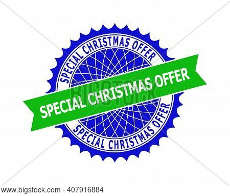 Vector Special Christmas Offer Bicolor Template For Imprints With Clean Surface. Flat Simple Seal Te