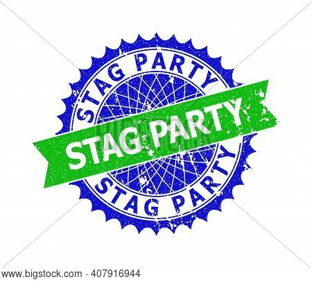 Vector Stag Party Bicolor Seal With Corroded Style. Blue And Green Colors. Flat Seal With Stag Party
